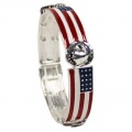 US Silver Plated Flag Bracelet