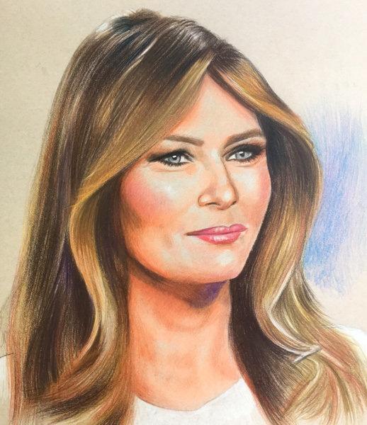Melania Trump Pastel Portrait - 11 x 17