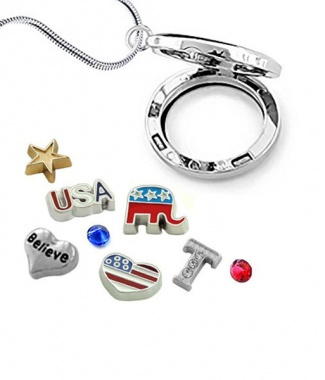GOP/TRUMP Glass Locket w/ Floating Charms