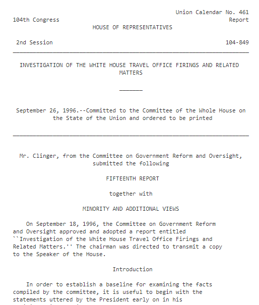1996- House Oversight Committee Travelgate Report