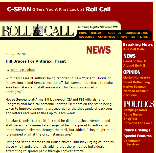 2001- Hill Braces For Anthrax Threat